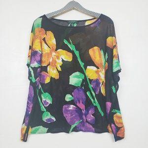 Lauren Ralph Lauren Floral Linen Poncho Style Top